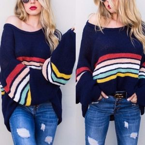PIPER Rainbow Stripes Navy Loose fit Sweater